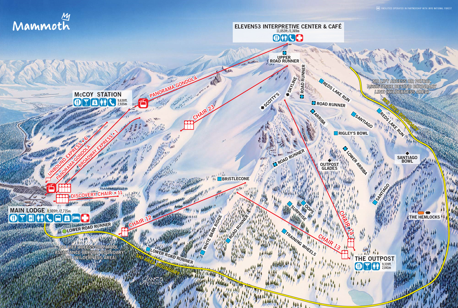 Mammoth Mountain Ski Area Trail Map | Official Site on
